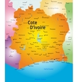 map of Cote d Ivoire vector image vector image