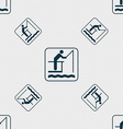 fishing sign Seamless pattern with geometric vector image
