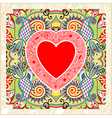 hand draw ornate Valentin Day card with heart vector image