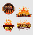 set of barbecue logos and labels vector image