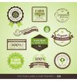 Vintage Fresh Organic Product Labels and Frames vector image
