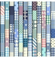 Blue patchwork pattern vector image