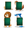 Four animals holding an empty board vector image vector image