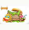 summer wooden banner summertime party 3d vector image vector image