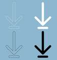 down arrow or load symbol the black and white vector image