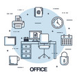 office workspace chair computer clock printer vector image