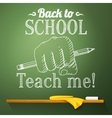 Pencil in the fist on the chalkboard with back to vector image