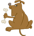 dog with bone cartoon vector image