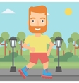 Sporty man on roller-skates vector image