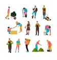 Set of garden people flat design isolated vector image vector image