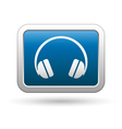 headphones icon on blue with silver rectangle vector image vector image