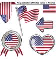 Glossy icons with USA flag vector image