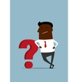 Cartoon african businessman leaning on question vector image