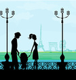 family in Paris with the Eiffel Tower vector image