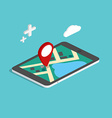 Flat 3d isometric mobile navigation maps vector image