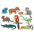 Set of Cute cartoon Animals and birds in the Amazo vector image