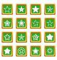 star icons set green vector image