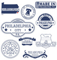 Philadelphia city Pennsylvania stamps and seals vector image