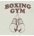 Retro emblem with old boxing gloves vector image vector image