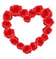 Heart frame of red realistic roses Happy vector image