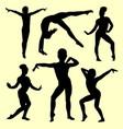 gymnastic girl silhouette vector image