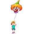 A boy holding a clown balloon vector image