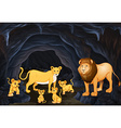 Lion family with four cubs vector image