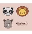 Kawaii lion raccoon and rhino icon vector image
