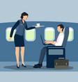 air stewardess serving first class passenger vector image