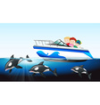 Children on boat and whale underwater vector image