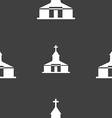 Church Icon sign Seamless pattern on a gray vector image