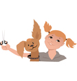 Dog groomer girl vector image