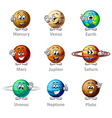Funny cartoon planets icons set vector image