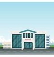 modern hospital on main street at city with sky vector image