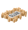 Slum district Building in form of letters Ghetto vector image