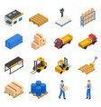 warehouse isometric decorative icons set vector image