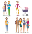 set of people with family and kids on an isolated vector image