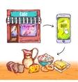 Online Order Food Shop Composition vector image
