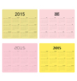 Calendar for 2015 on background vector image