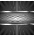 Metallic aluminum perforated banner and dark beams vector image