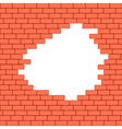 Red crashed brick wall texture background vector image