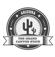 Arizona state round stamp with cactus and ribbon vector image