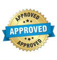 approved 3d gold badge with blue ribbon vector image