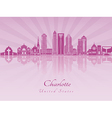 Charlotte skyline in purple radiant orchid vector image