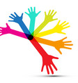 colorful human palm hands isolated on white vector image