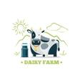 Fresh natural milk eco farm logo with cow vector image