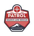 patrol search and rescue vintage label vector image