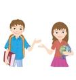portrait of schoolboy and schoolgirl vector image