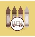 school bus icon crayons graphic vector image