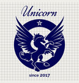 vintage unicorn logo on notebook page vector image